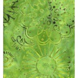 Bright Green Medallion Flowers Batik