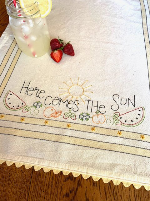 Here Comes the Sun Dishtowel Embroidery Pattern and Kit