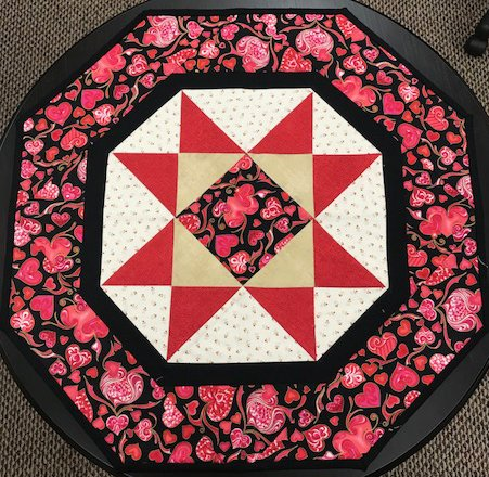 Octagonal Table Topper - Valentine themed