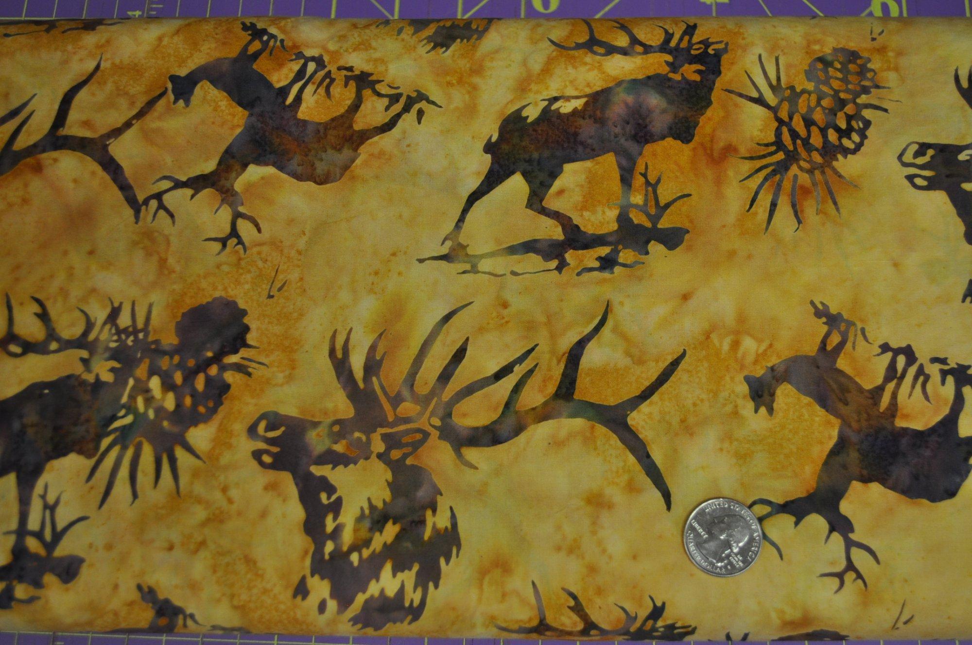 Batik - 2913 Brown Elk on Gold