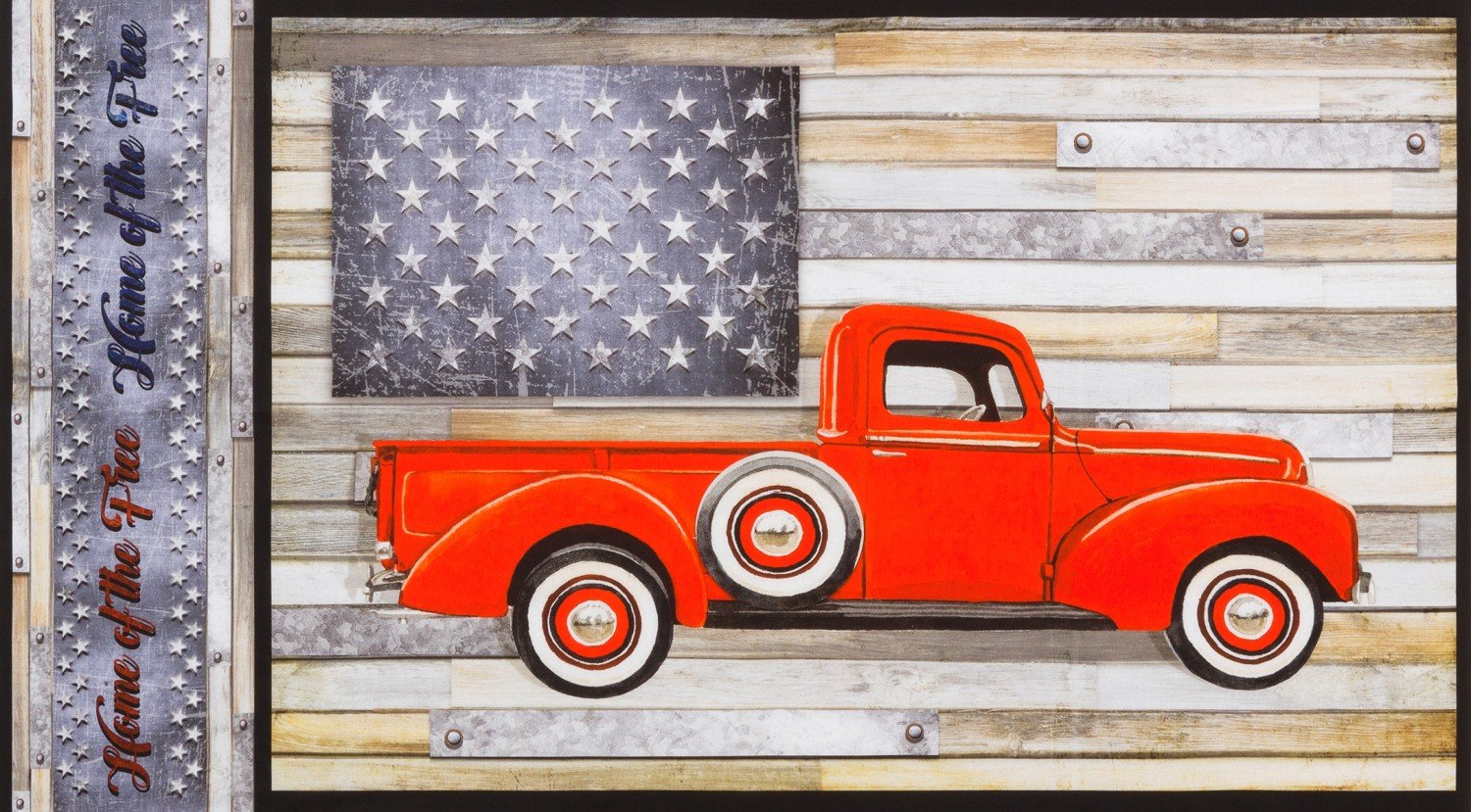 Country Red Truck Panel 24in, Digitally Printed
