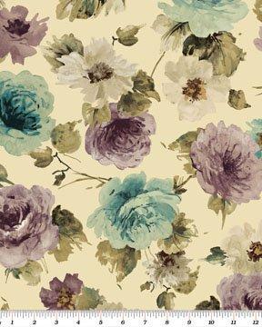 Interlude  Large Floral Cream/Turquoise Benartex