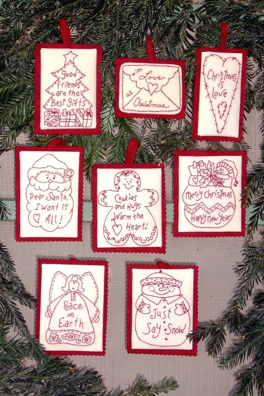 Bird Brain Holiday Words Redwork