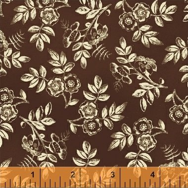 Brown with Medium Cream Flowers