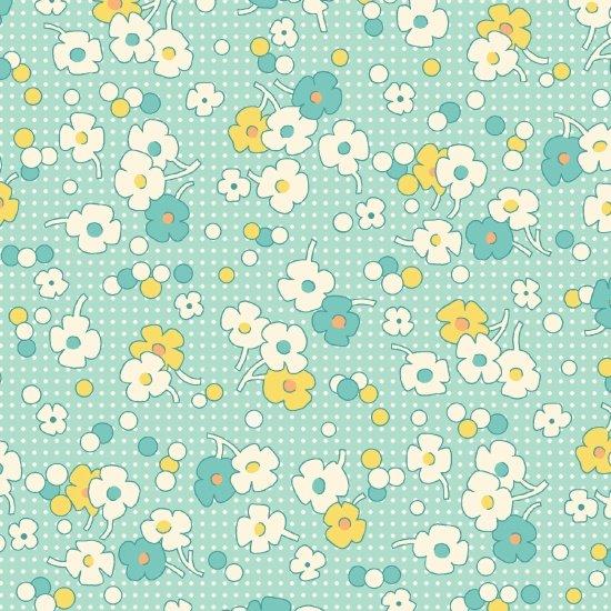 Flowers on Aqua Background