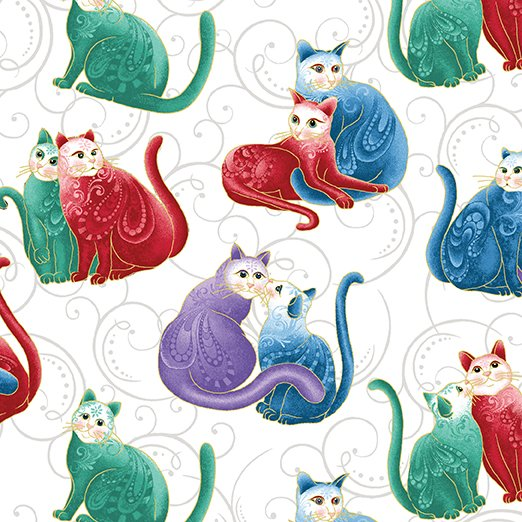 Mini Scroll Cats White/Multi