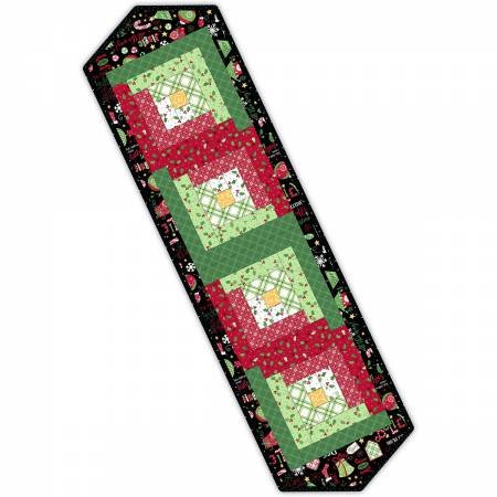 Log Cabin Table Runner Jingle All the Way