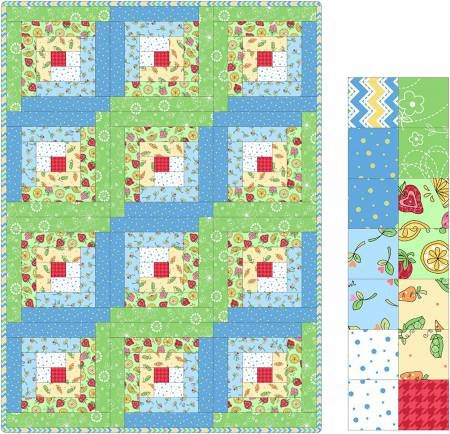 12 Block Log Cabin Quilt Lil' Sprout Flannel