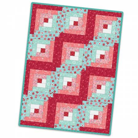 12 Block Log Cabin Quilt Sprinkles Sunshine