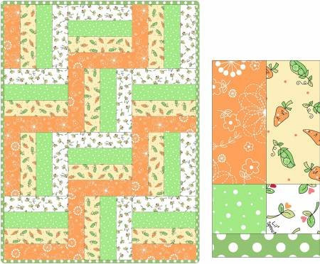 12 Block Rail Fence Quilt Lil' Sprout Flannel