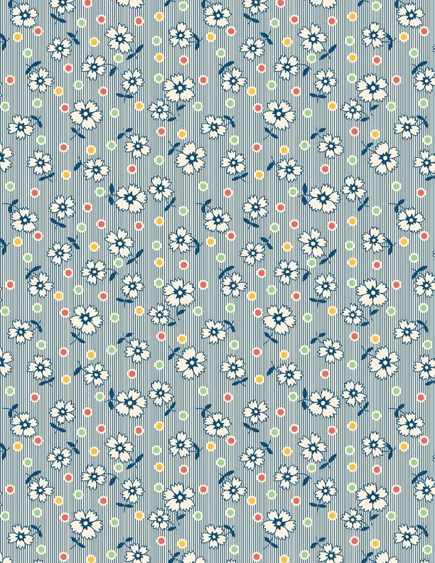 Flowers & Dots Tan/Blue
