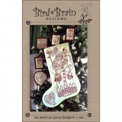 Bird Brain Designs All American Santa Redwork