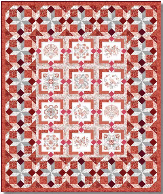 Scarlet Stitches & White Linen Quilt Kit