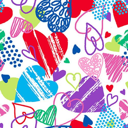 Colorful Scribbled Hearts on White
