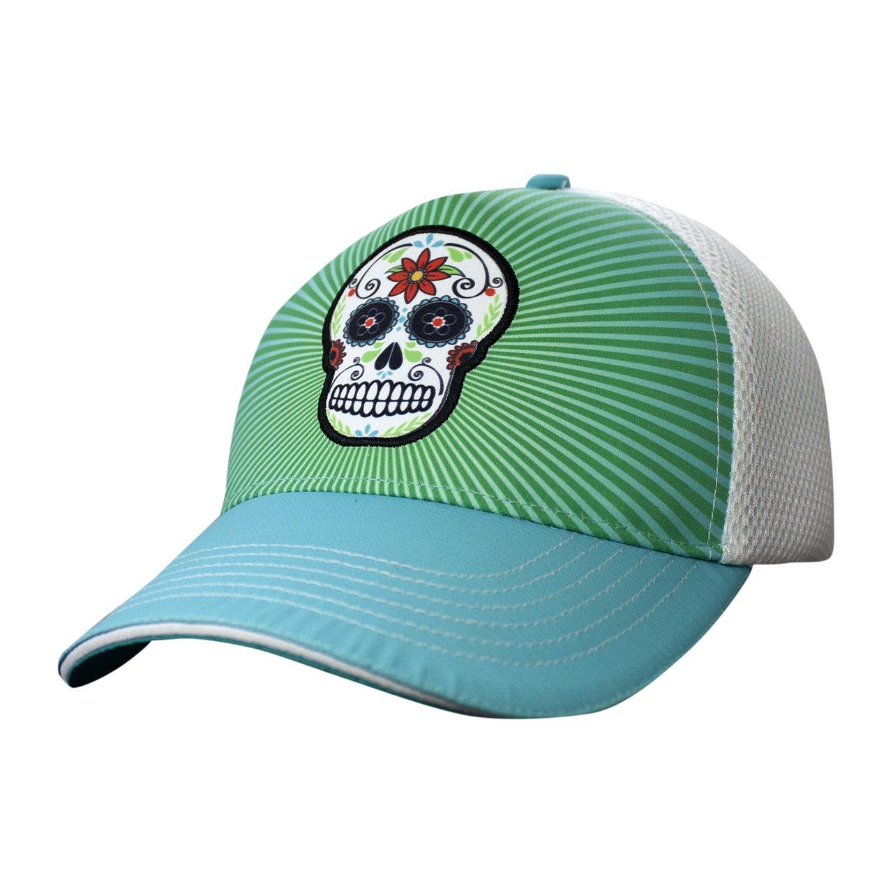 Trucker Hat - 5 Panel Teal Skull