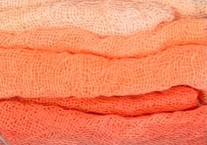 Hand-Dyed Cheesecloth Gradation Color Grapefruit