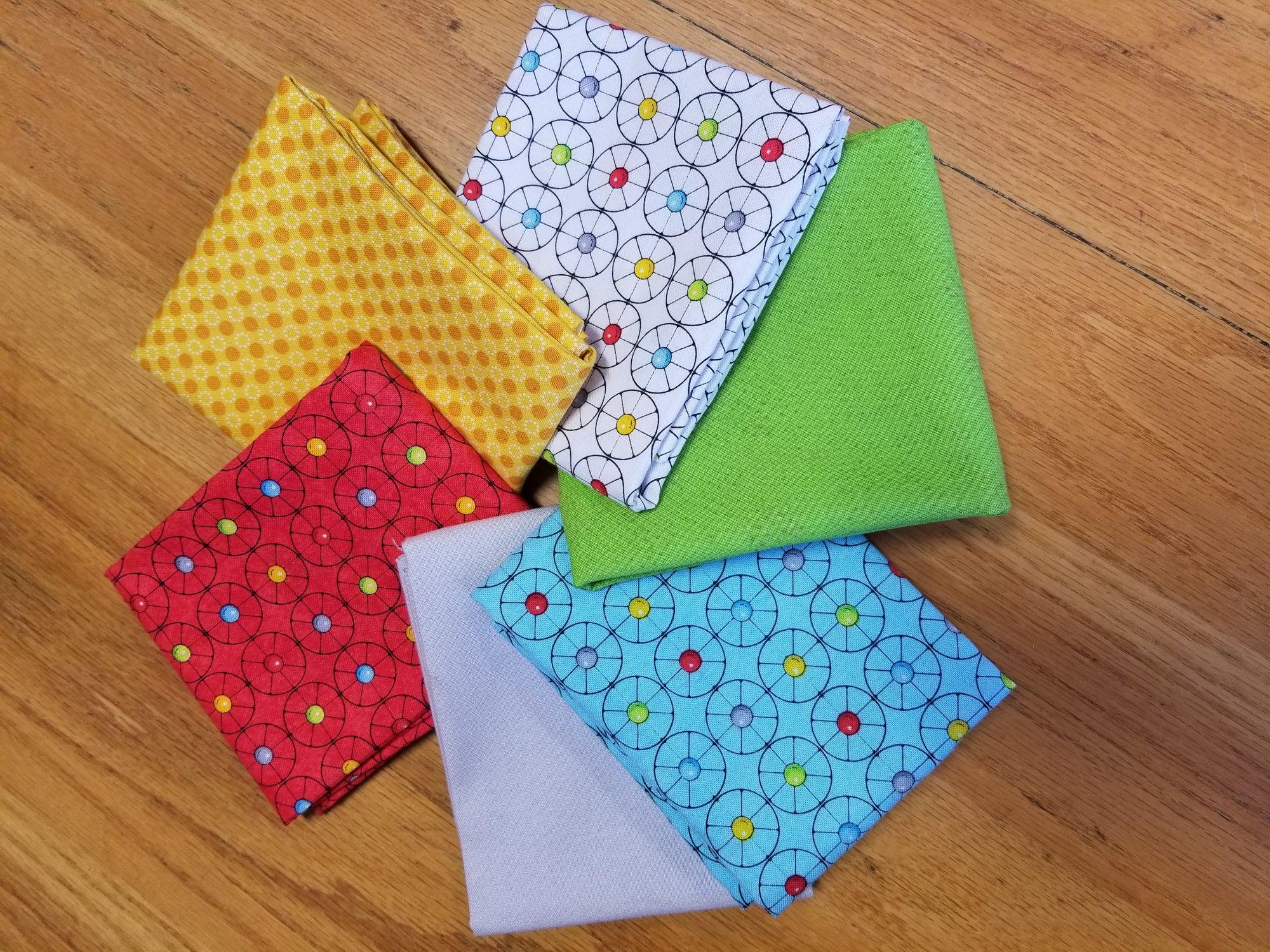 Fabric Bundle: Wheels Go Round Bundle of 6 Fat Quarters