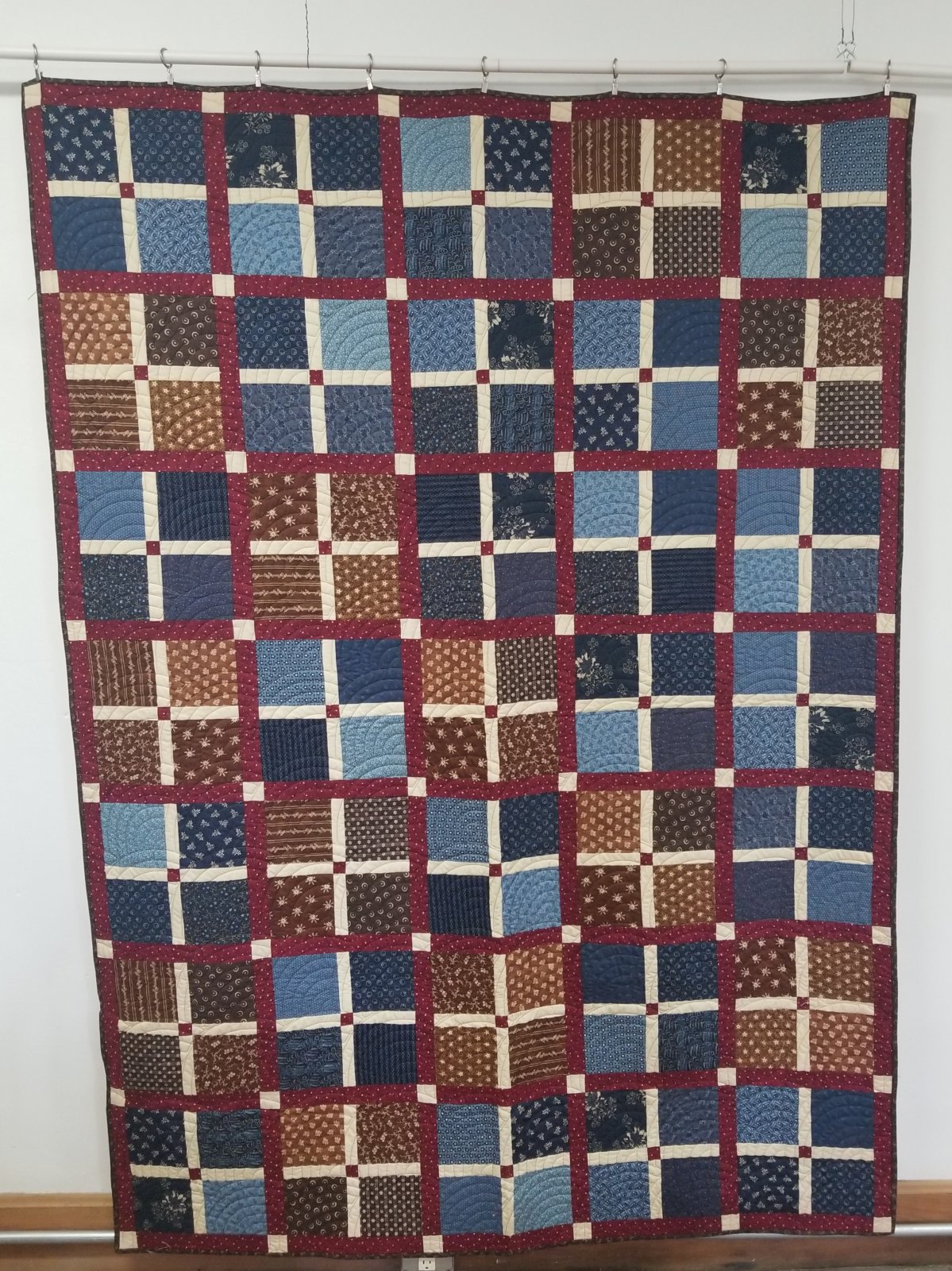 Blue and Red Country Quilt