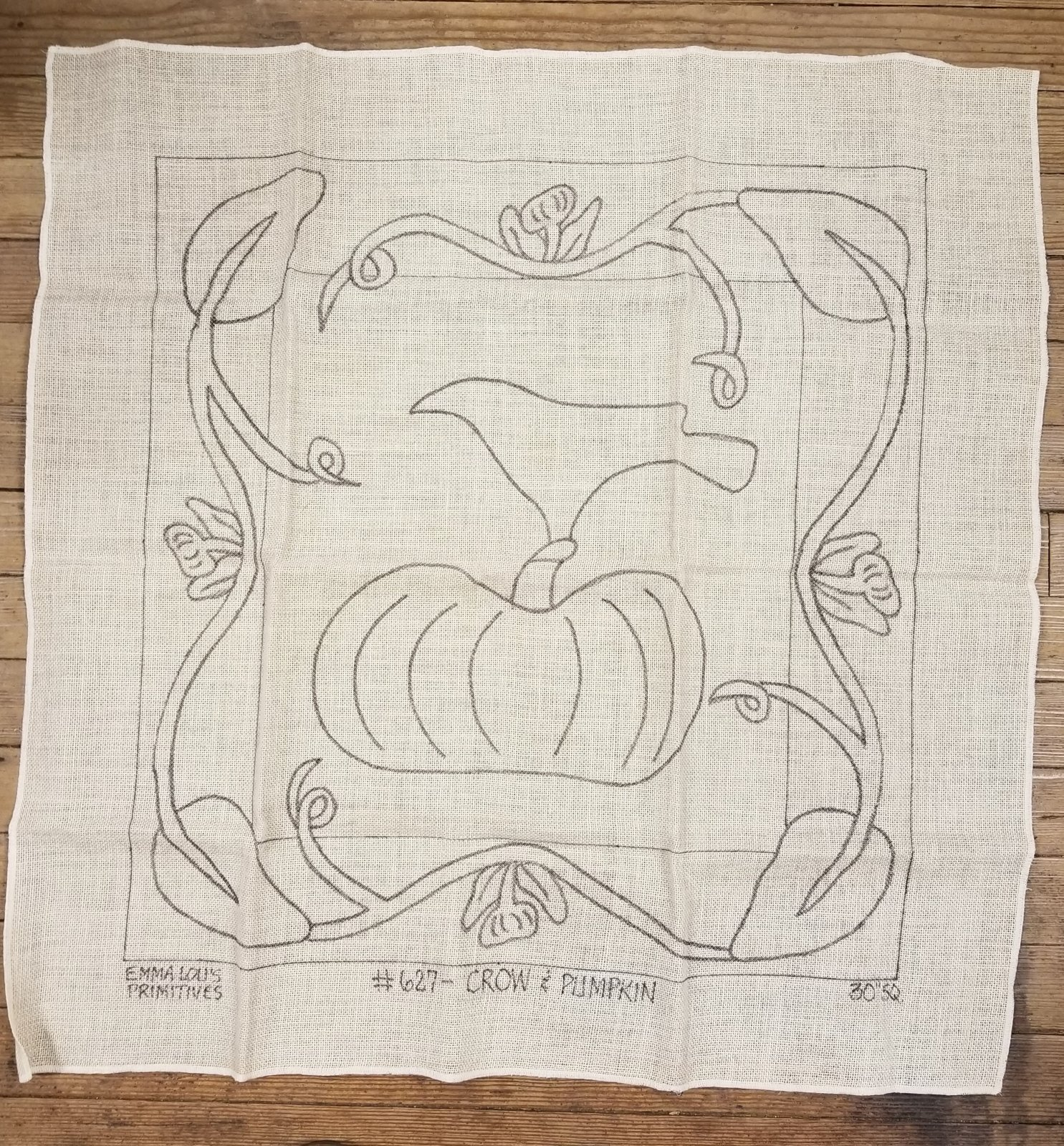 Crow and Pumpkin Hooking Mat on Linen Designed by Emma Lou's Primitives