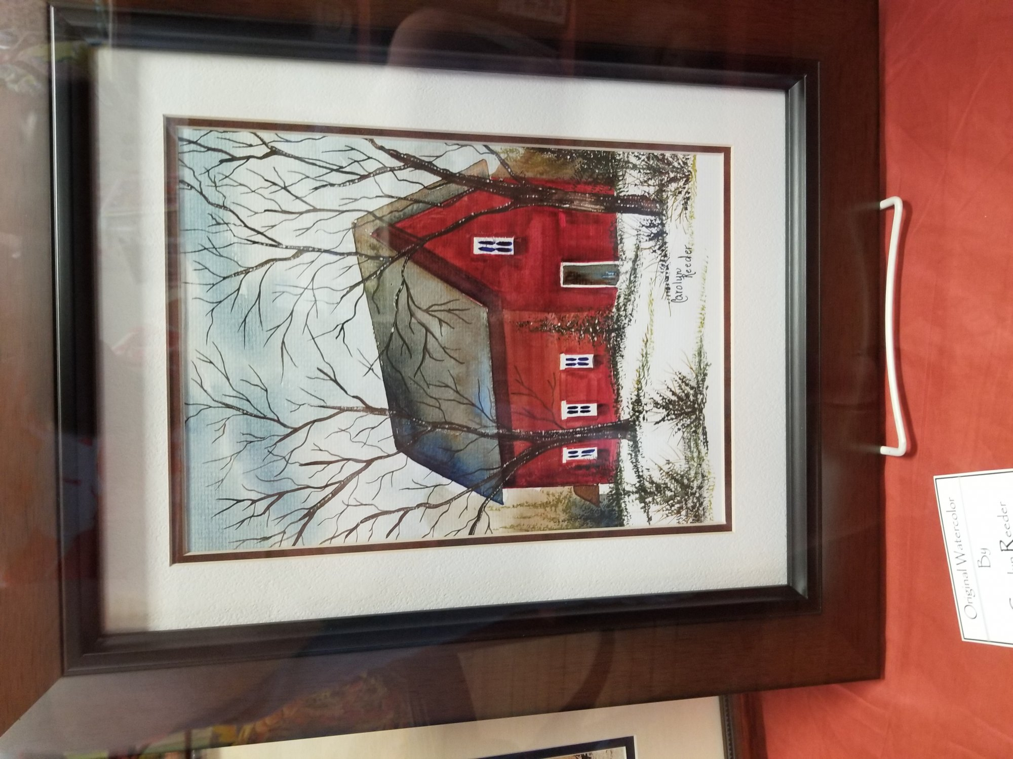 Original Watercolor Red Vertical Barn