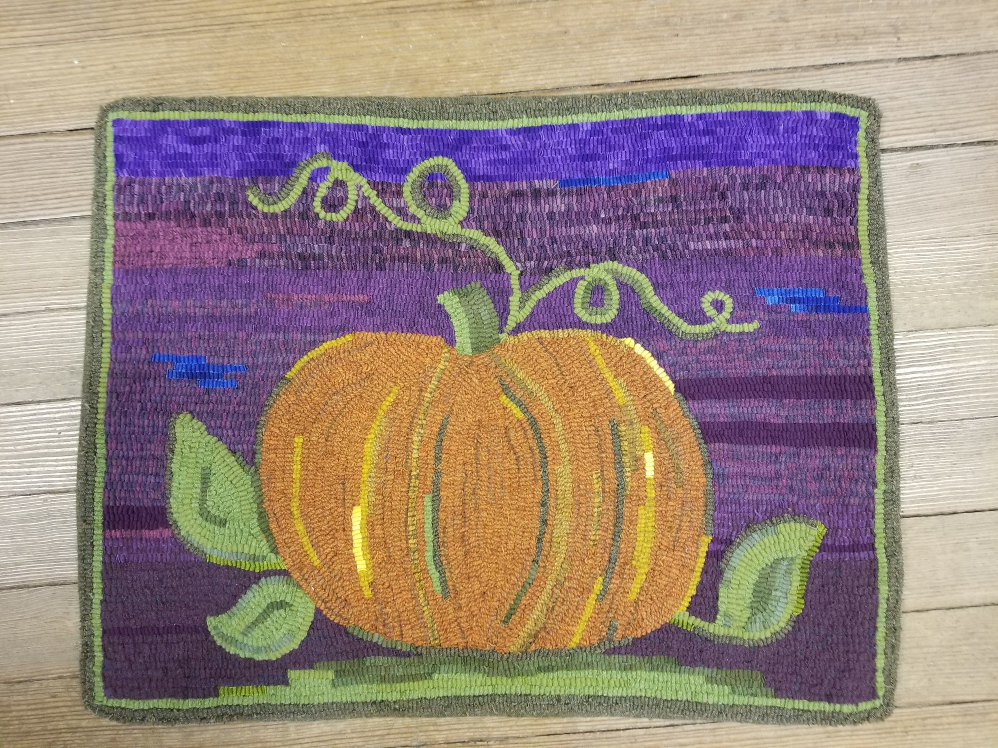 Pumpkin Wool Hooked Rug Mat