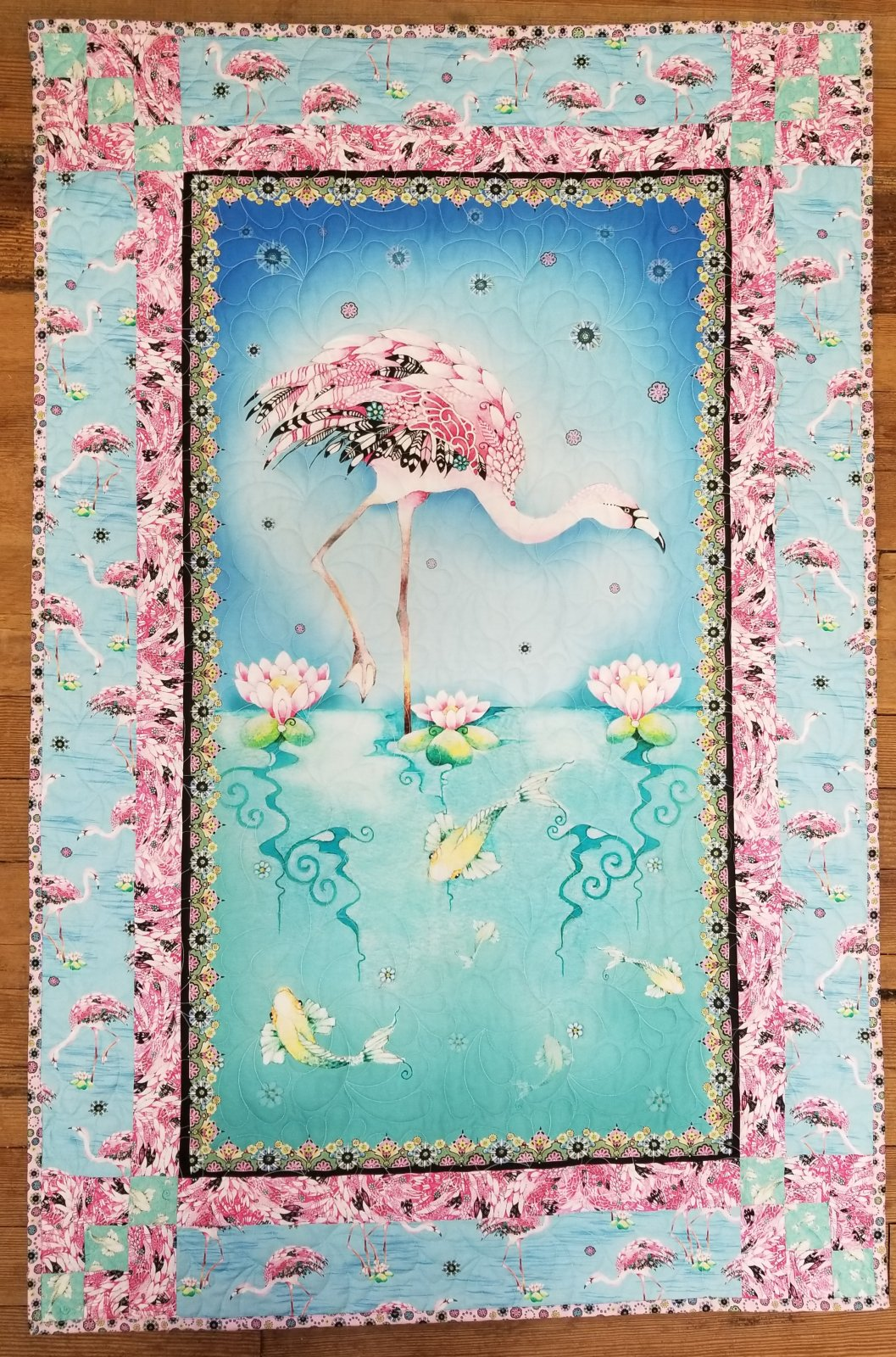 Fancy Flamingo Panel Magic Quilt Kit