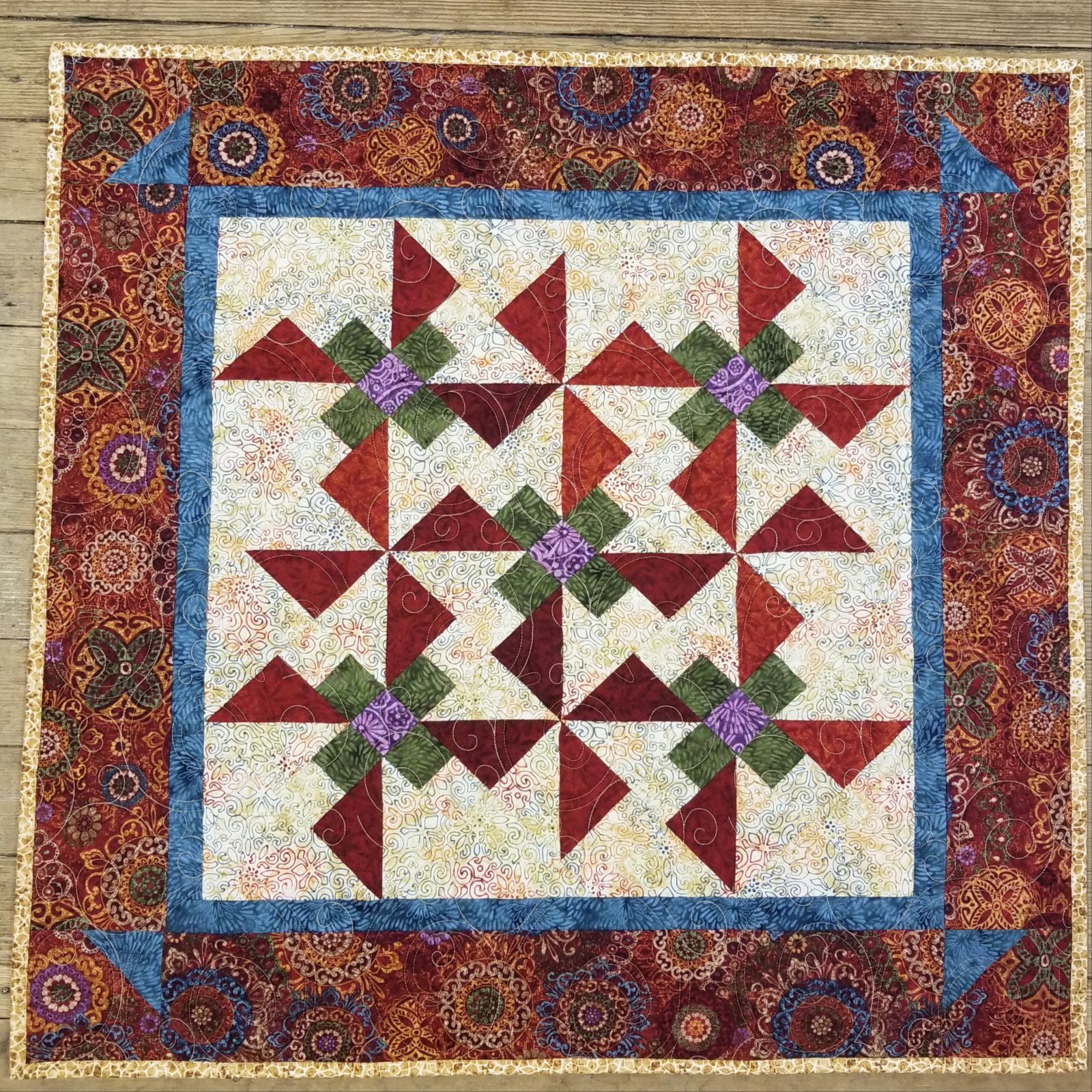 Tapestry Pinwheels and Posies Quilt Kit
