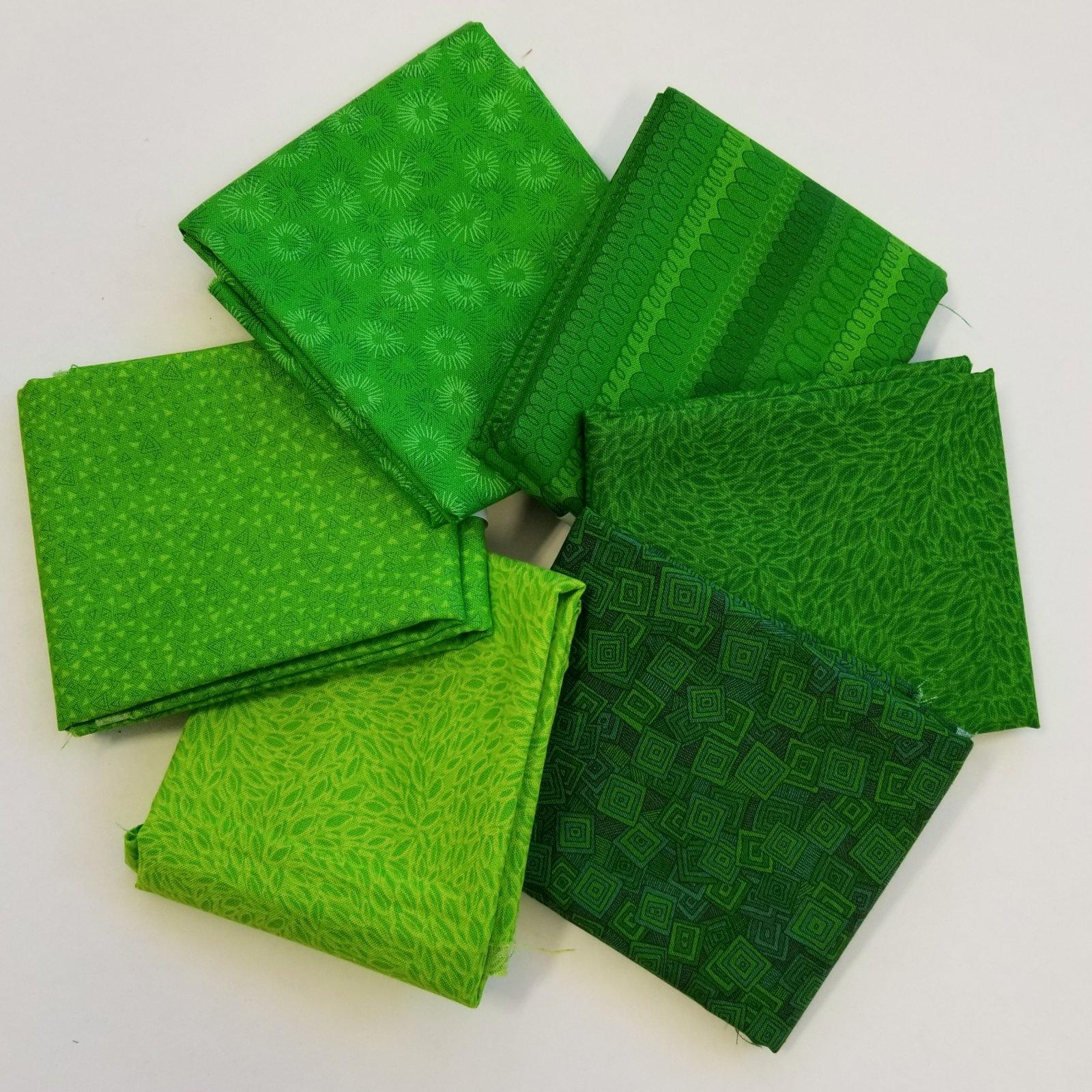 Hopscotch Bright Green Bundle of 6 Fat Quarters
