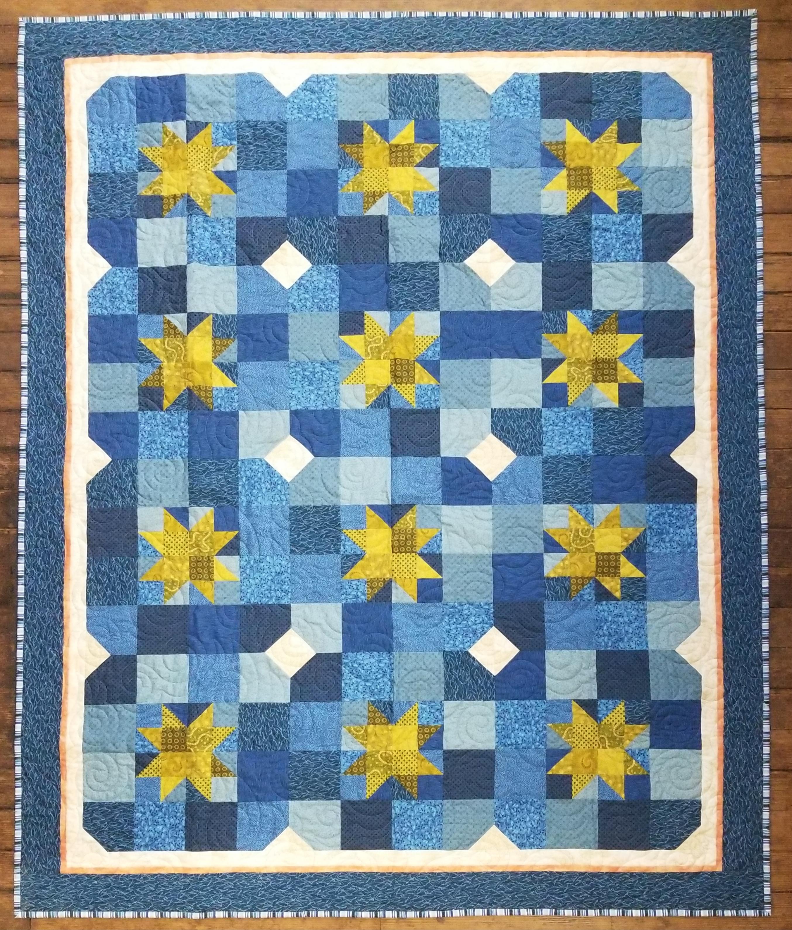 Blue and Green Starbright Quilt Kit