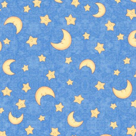 Lullaby MOON & STARS DARK BLUE Minky