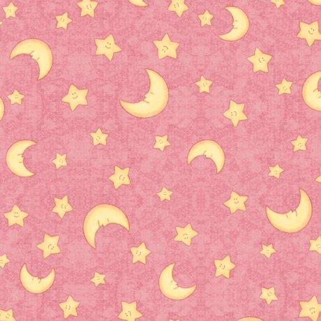 Lullaby MOON & STARS DARK PINK Minky