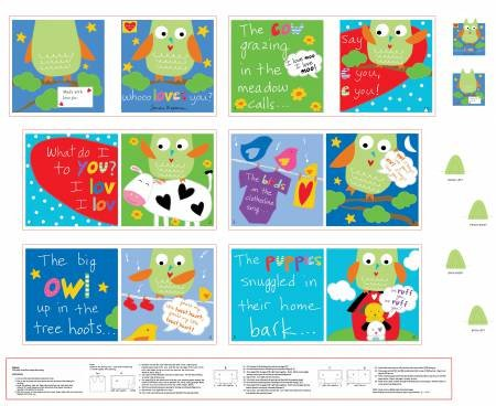 Whooo Loves You Fabric Book Panel