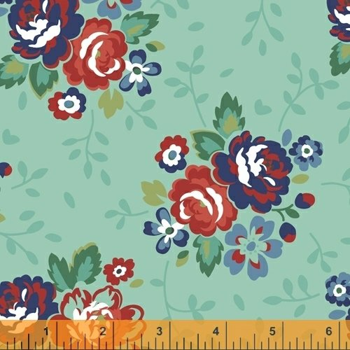 Backyard Blooms Aqua floral print