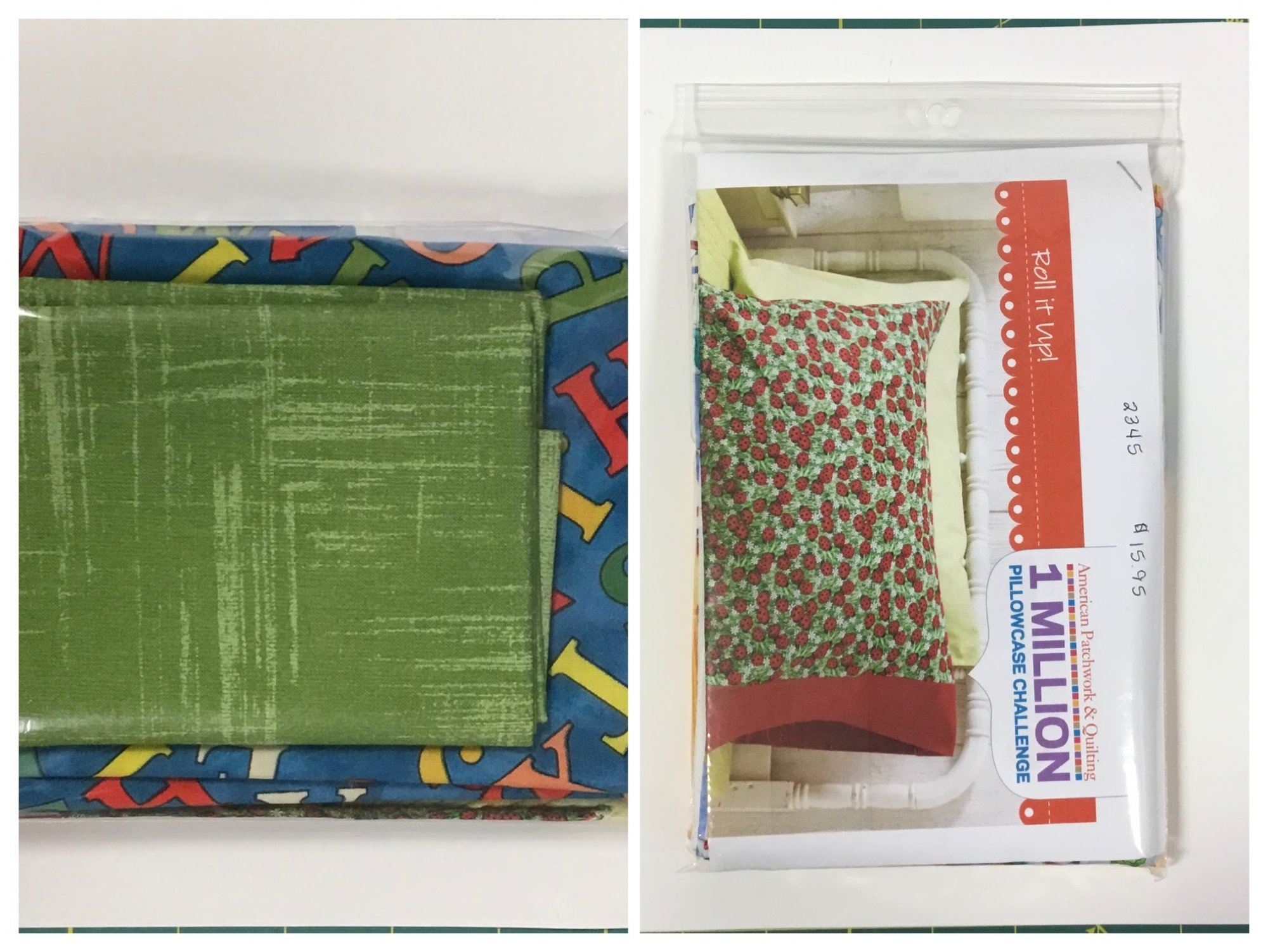Blue and green alphabet pillow case