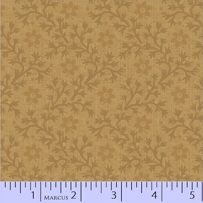 Pieceful Pines Gold Tonal Floral by Pam Buda