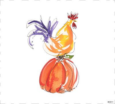 Quilt Block Art Rooster on Pumpkin