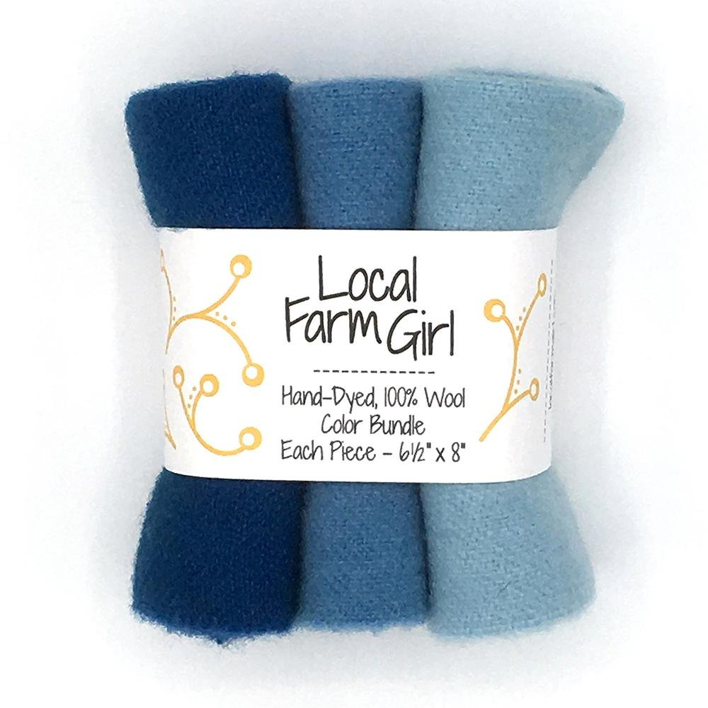 Hand-Dyed, 100% Wool Color Bundle Best Blue