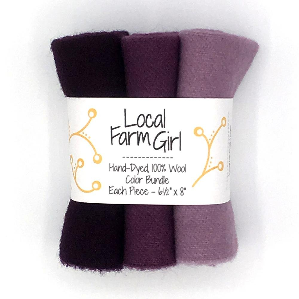 Hand-Dyed, 100% Wool Color Bundle Black Raspberry