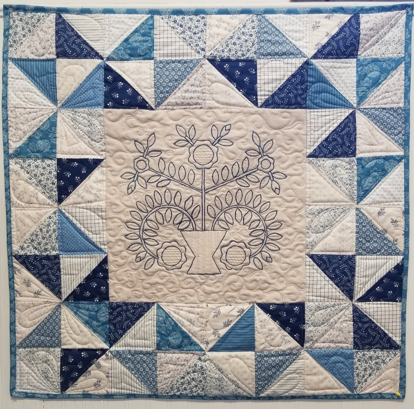 Blue-and-White Embroidery Wall Hanging Fabric Kit