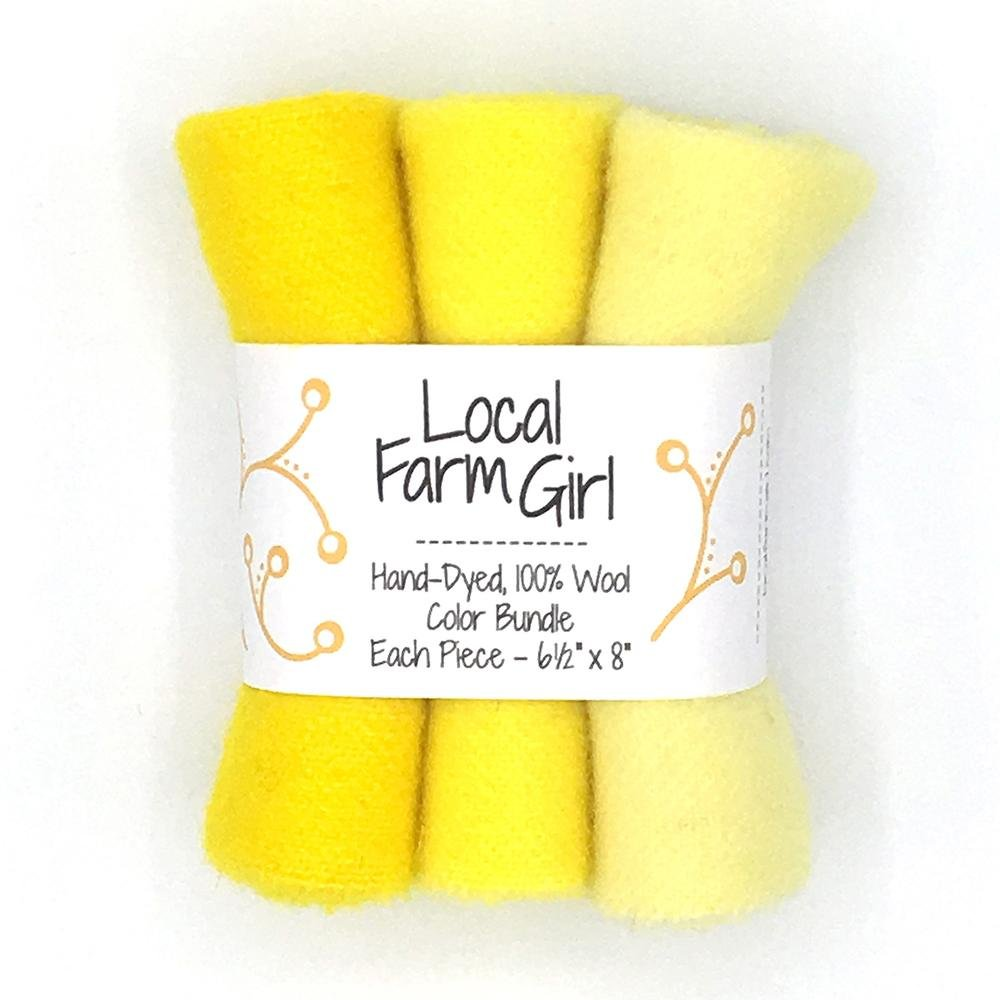 Hand-Dyed, 100% Wool Color Bundle Bright Yellow