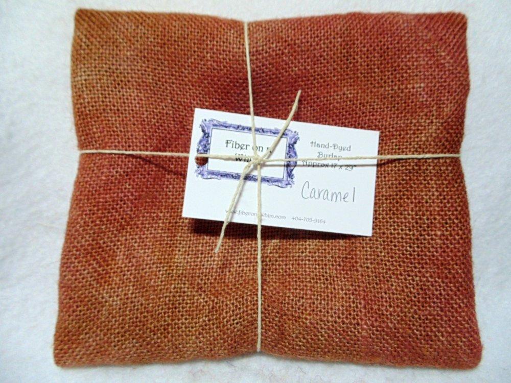 Hand Dyed burlap color Caramel