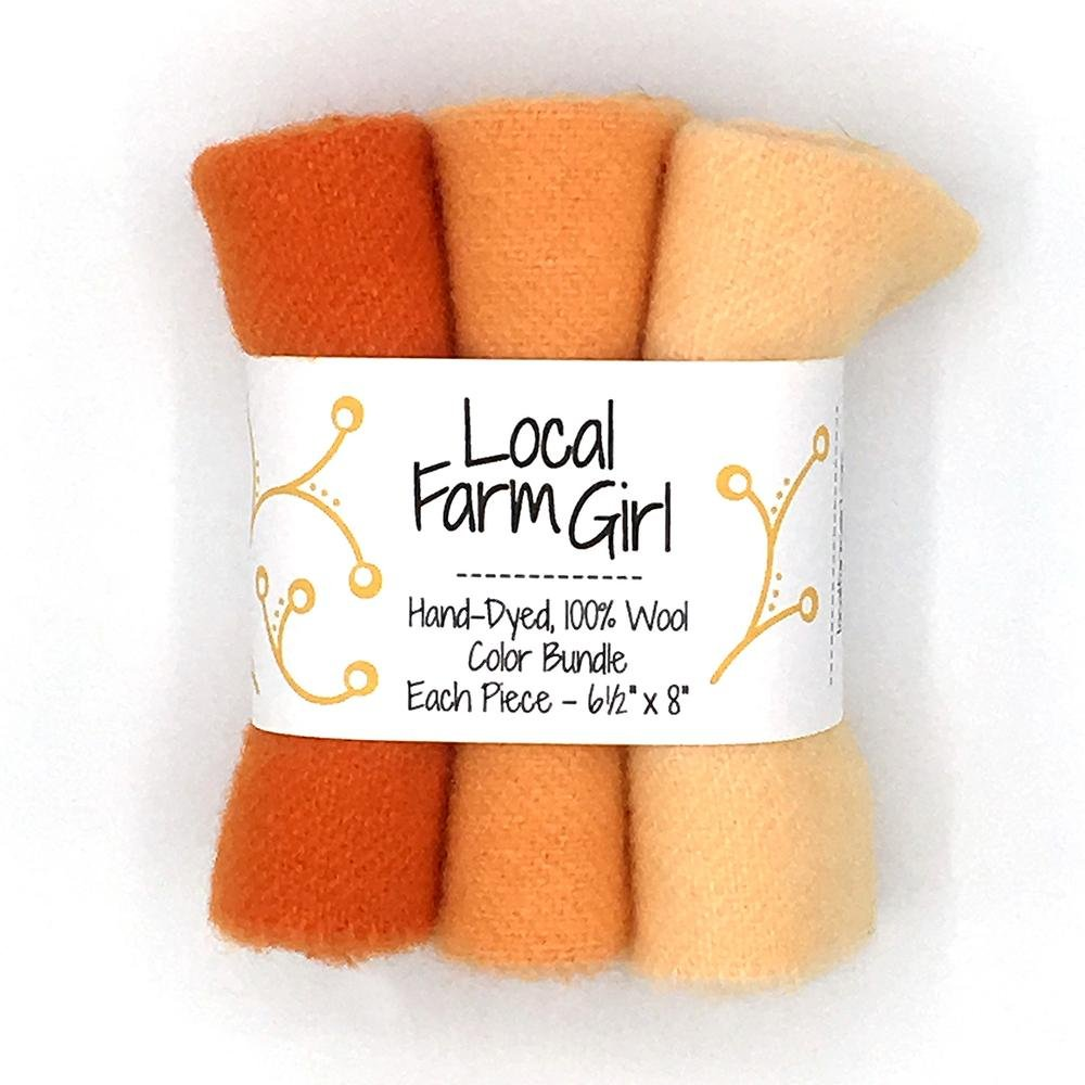 Hand-Dyed, 100% Wool Color Bundle Carrot