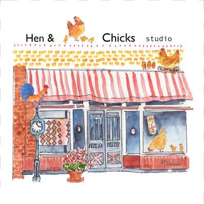 Hen & Chicks Studio Quilt Block art by KMcElwaine