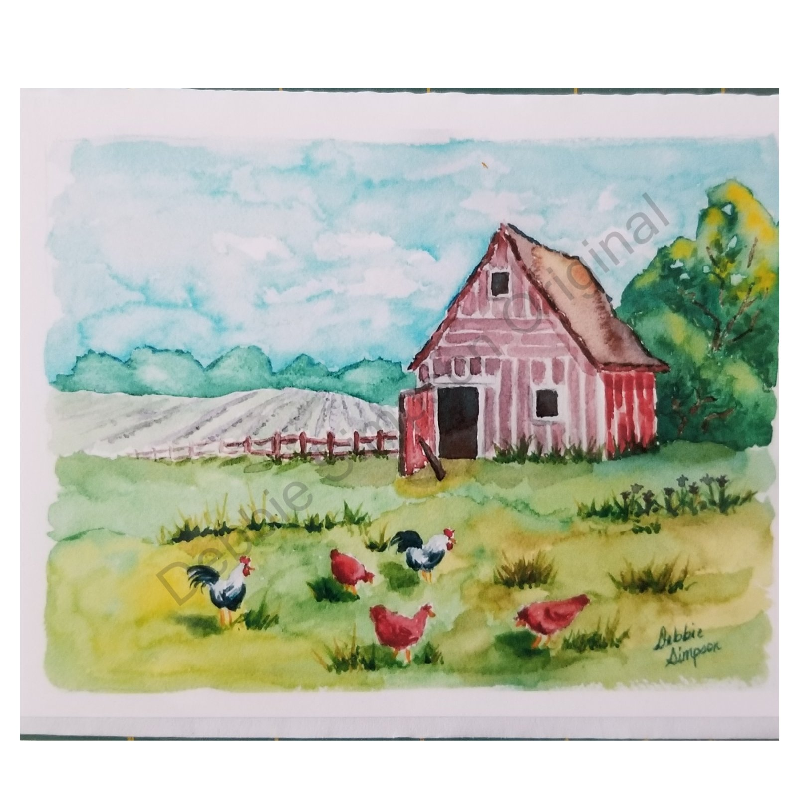 Barn with Chickens Card