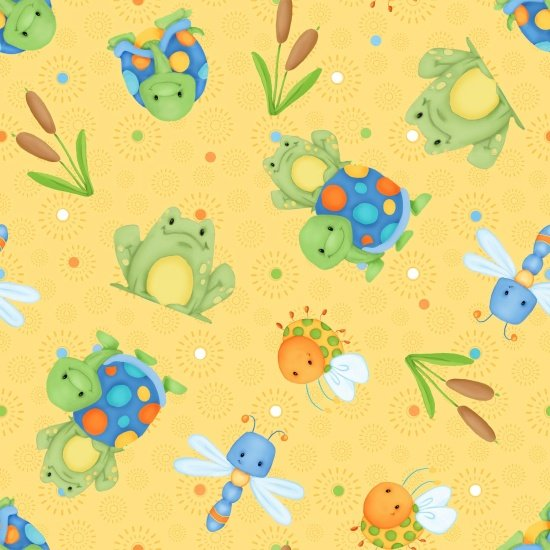 Yellow Frogs & Turtles Flannel