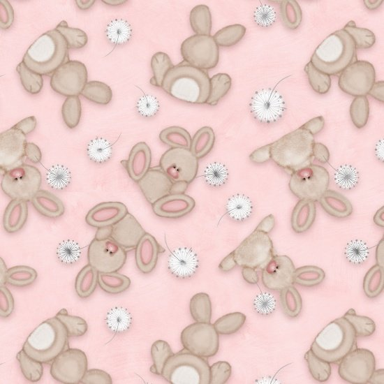 Pink Bunny Flannel Receiving Blanket Fabric Kit