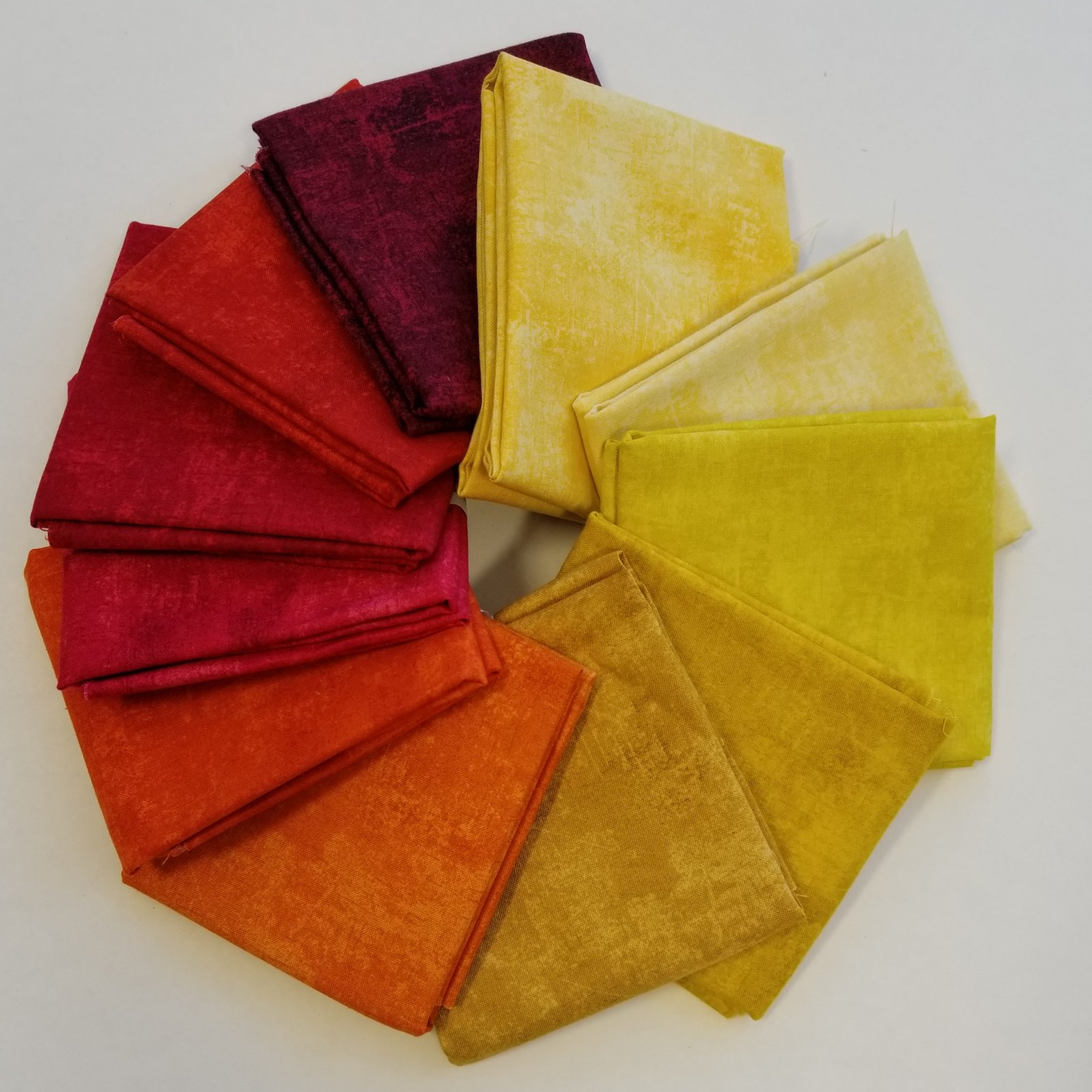 Canvas Red, Orange and Yellow Bundle of 11 Fat Quarters