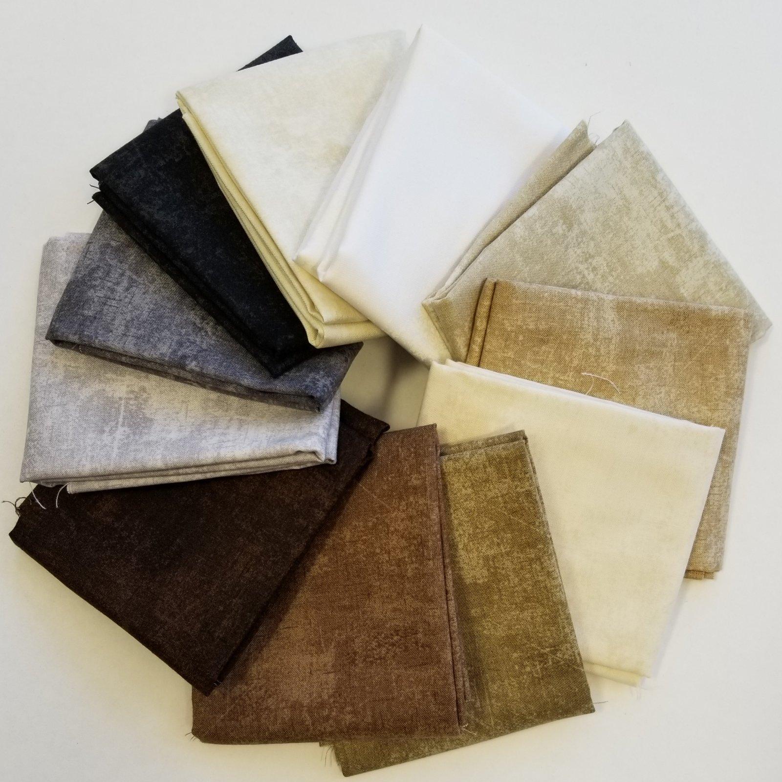Canvas Black, Brown, White Bundle of 11 Fat Quarters