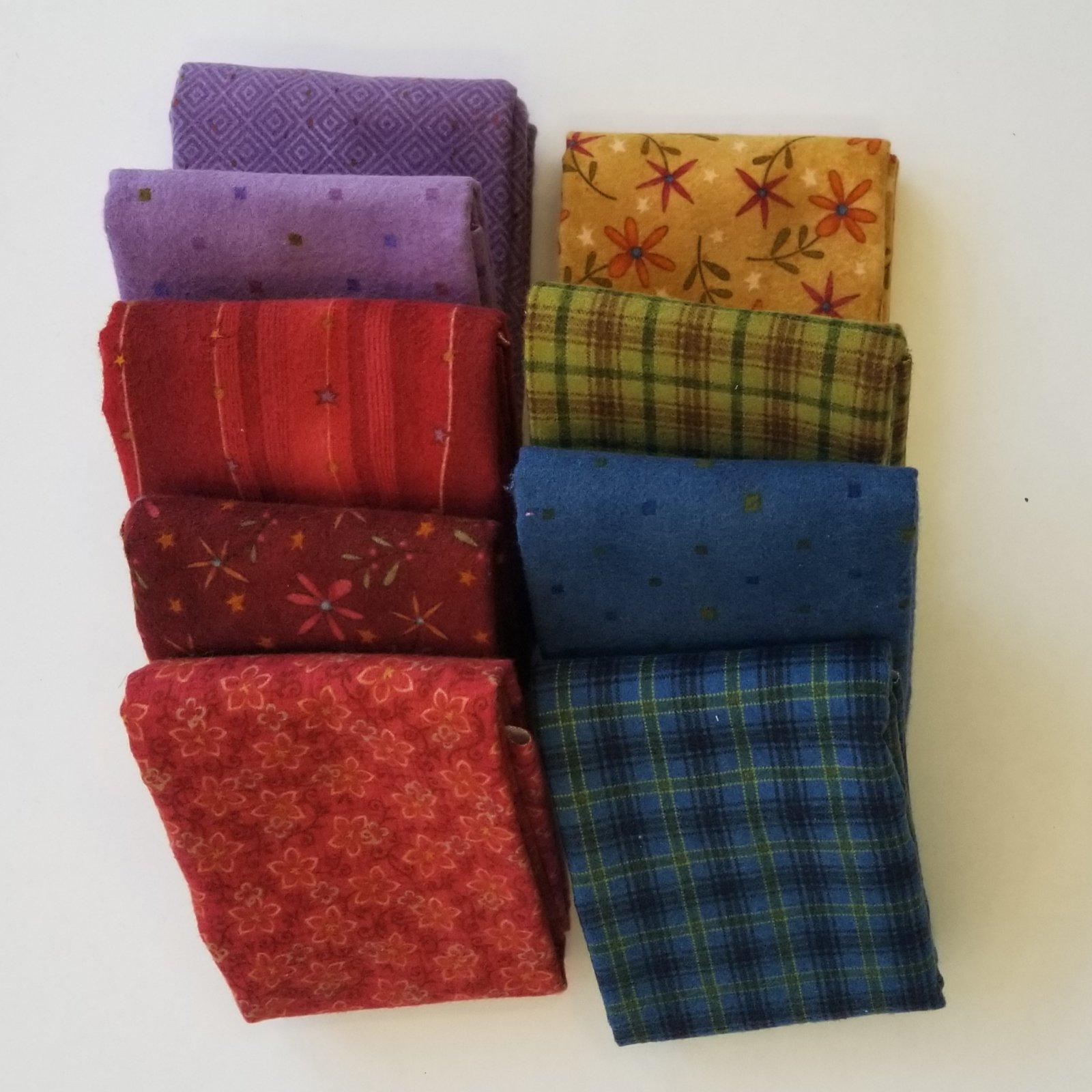 Folk Art Flannel Bundle of 9 Fat Quarters