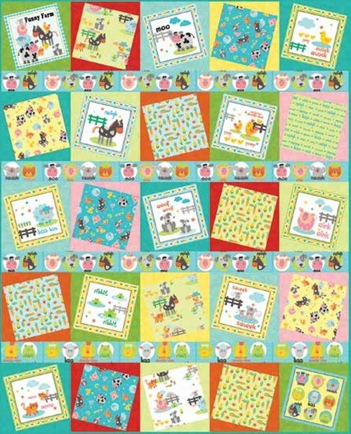 Funny Farm Book Panel Quilt FREE Pattern